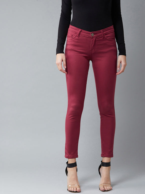 Cherry Red Coloured Ankle Length jeans
