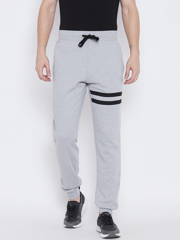 Men's Cotton Gray   colour Striped Track pants