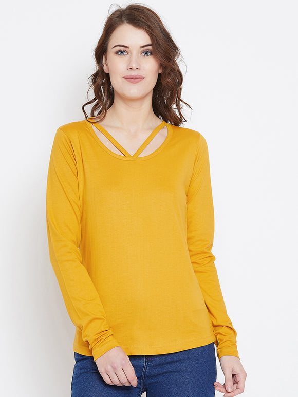 Yellow Colour Full Sleeve Solid Top