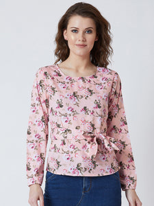 Women's  Crepe Pink  Colour Floral Full  Sleeve Top