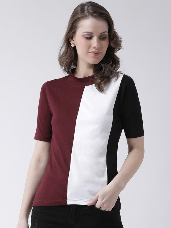 Women's Cotton Trio Coloured Block Short sleeves Tshirt