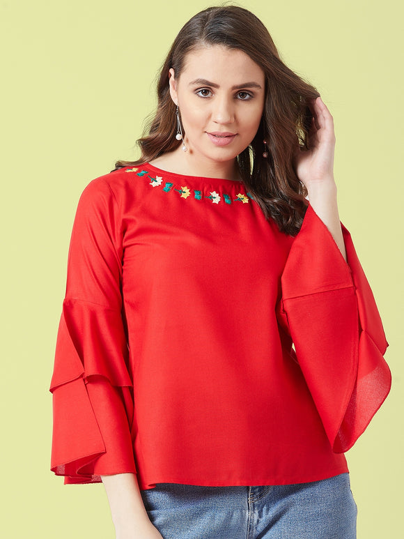 Red Coloured Bell Sleeve Top