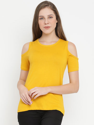 Women's Cotton Yellow Solid  Short cut sleeves Tshirt