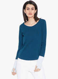 Women's Cotton Petro Green Solid Full sleeves T-Shirt