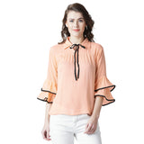 Women's Baby Pink Rayon Crepe Bow-Tied Top