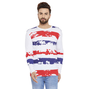 Men's Cotton White& Red  colour Printed  Full  sleeves Tshirt