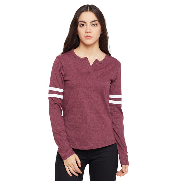 Women's Cotton Burgundy Solid Full sleeves T-shirt