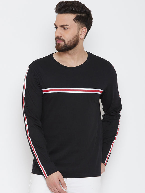 Black Colour Round Neck Striped Tshirt