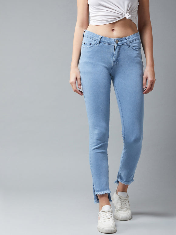 Light Blue Coloured Bottom Up-Down Jeans