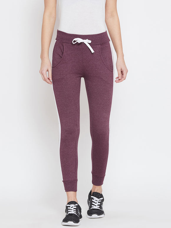 Colorblocked Women Maroon Track Pants