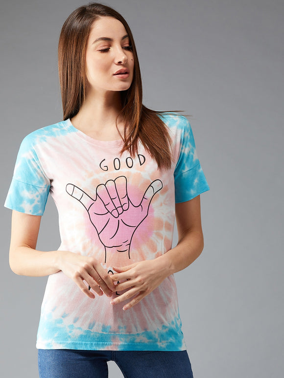 Women's Cotton Pink and Blue Coloured  Tie Dye Short  sleeves Tshirt