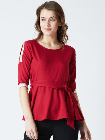 Women's Rayon Solid Maroon  Coloured 3/4 th Sleeve  Top