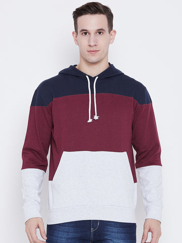 The Dry State Men's Cotton multi Colured Clourblocked Pull over Sweatshirt