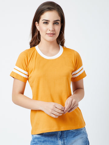 Women's Cotton Yellow Solid Short  sleeves Tshirt