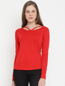 Women's Cotton Red Solid Full sleeves Tshirt