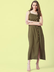 Olive coloured Sleeve less Maxi Dress