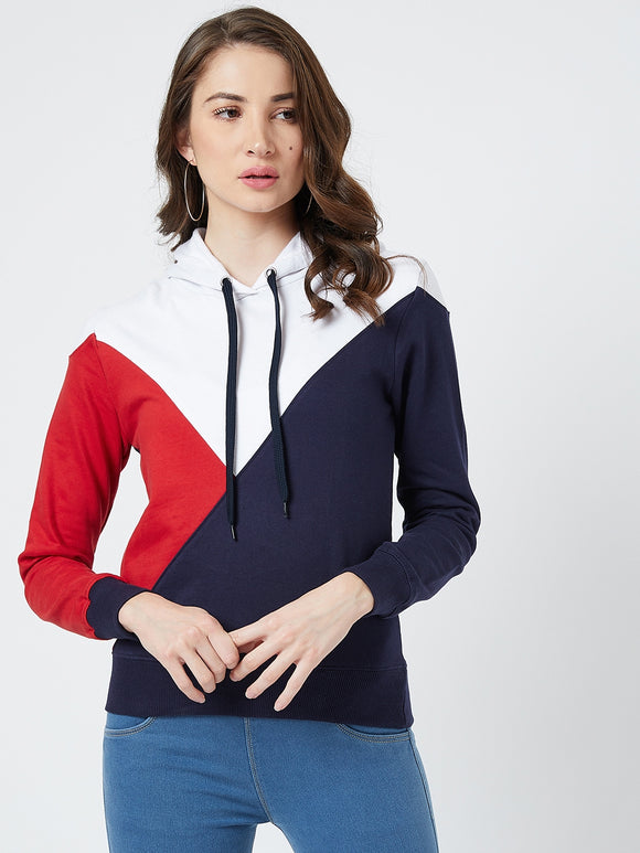 Full Sleeve Multi Coloureblocked Sweatshirt
