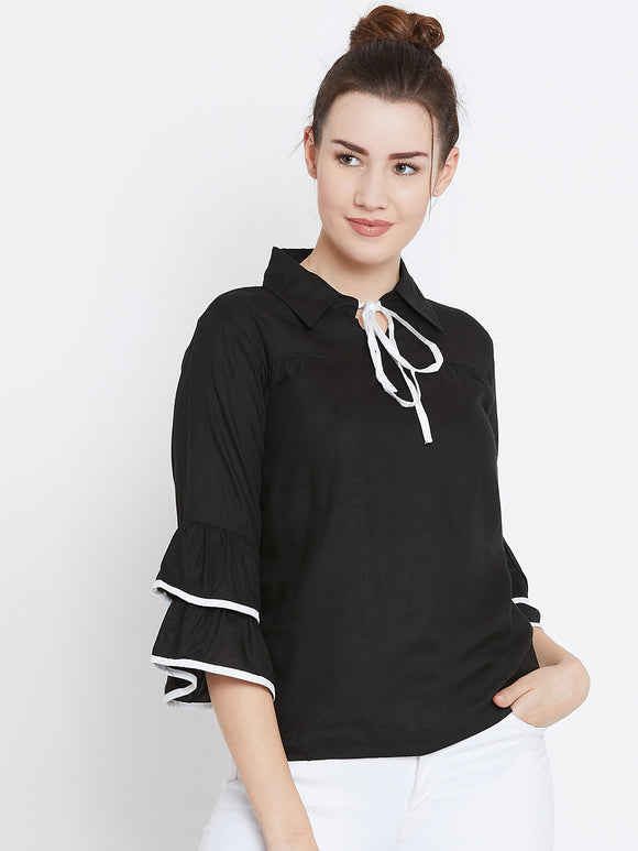 Women's Cotton Black Bell Sleeves Top