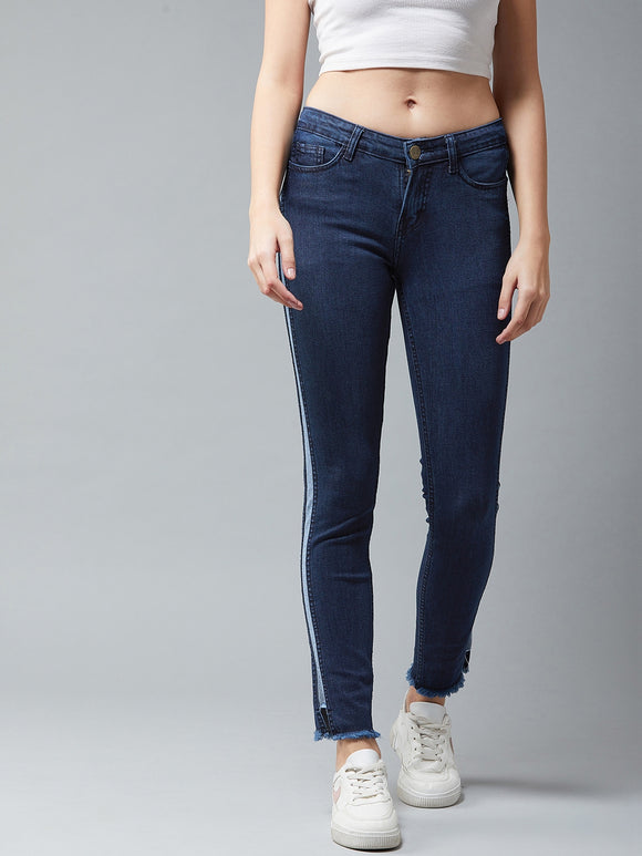 Blue Colured Striped Jeans