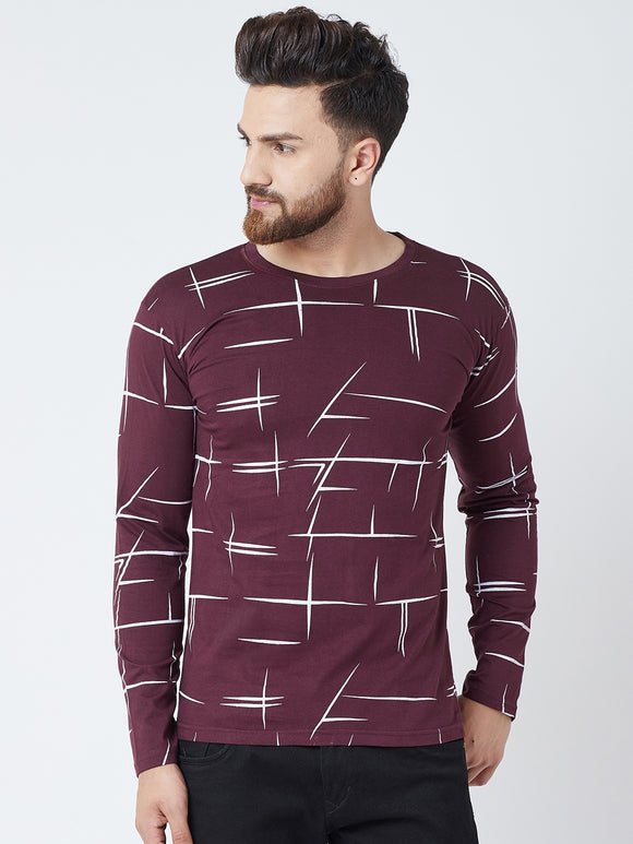 Cotton Burgandy Printed  Full sleeves Tshirt