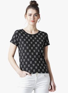 Women's Cotton  Black Self Design Half sleeves Tshirt