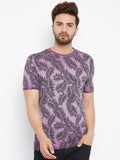 Cotton Purple Printed Short Sleeve Tshirt