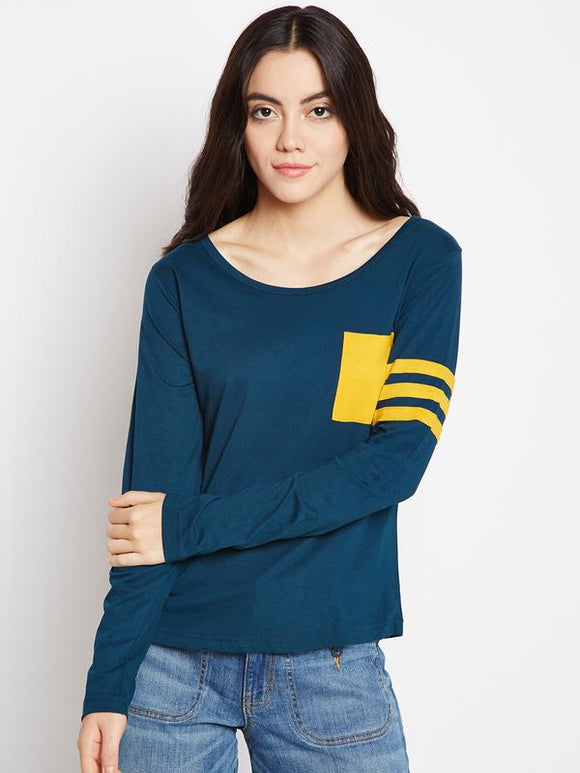 Women's Cotton Petrol Green Sporty Full Sleeves Tshirt With Contrast Pocket