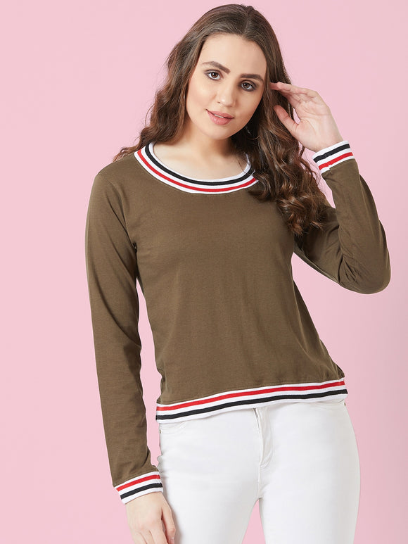 Olive Coloured Full Sleeve T-shirt