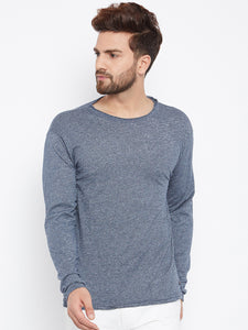 Men's Cotton Gray  colour Solid  Full  sleeves   Tshirt