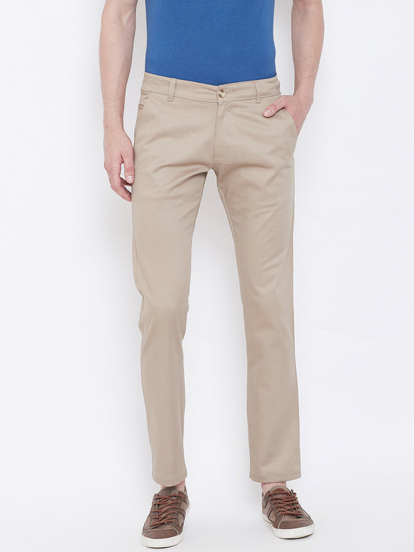 Regular Fit Men Khaki Trousers