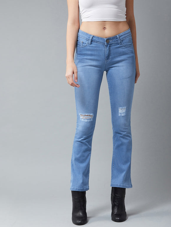 Light Blue Coloured Distressed Boot Cut Jeans