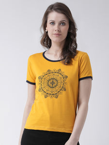 Women's Cotton Yellow Coloured printed Short sleeves Tshirt
