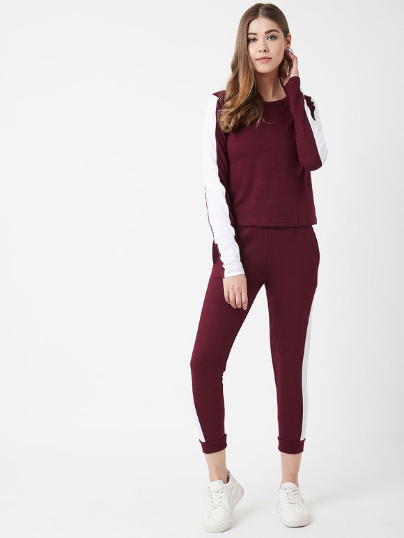 The Dry State Women Cotton Maroon Colour Sleep Wear