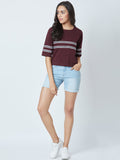 Maroon Colour  Half Sleeve Striped tshirt