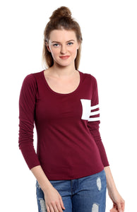 Women's Cotton burgundy Abstract 3/4 sleeves Tshirt