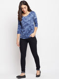 Women's Cotton Blue Lava Printed 3/4th Sleeves Tshirt