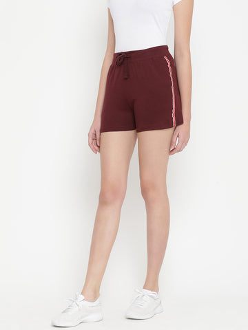 Solid Women Maroon Night Shorts