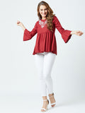 Women's  Rayon  Burgandy  Colour Embrodrised Bell Sleeve Top