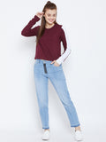 Women's Cotton Burgundy Solid Full sleeves Tshirt