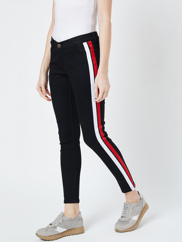 Skinny Black Colour Striped Jeans