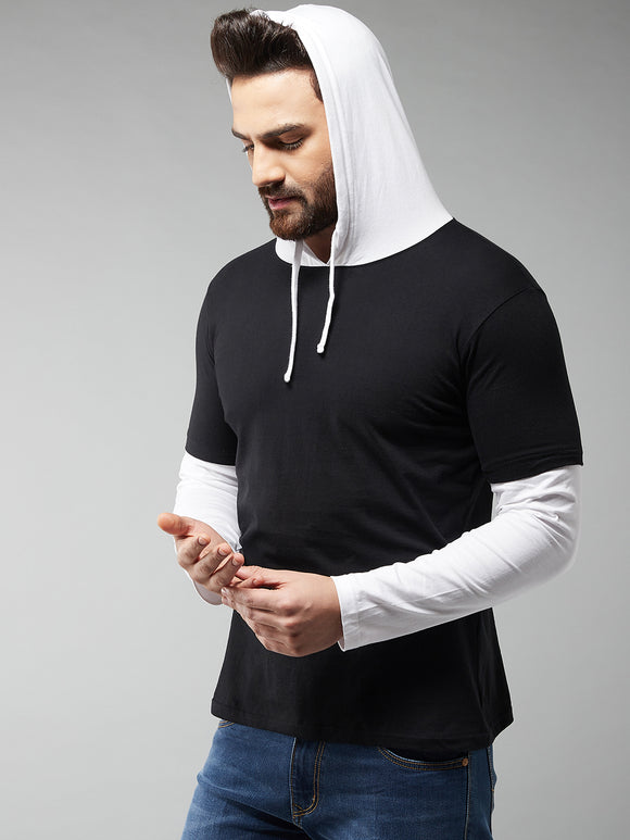 Black & White Coloured Full Sleeve Hooded T-shirt