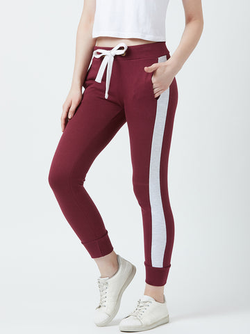 Solid Women Maroon Track Pants