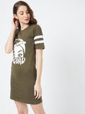 Olive Green Colour Short Sleeve Dress