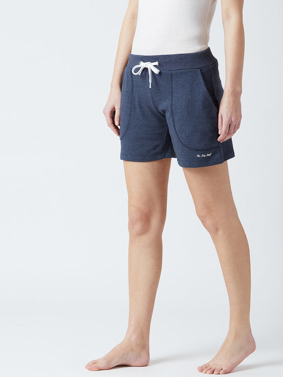Solid Women Blue Shorts