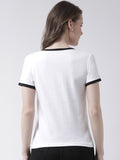 Women's Cotton White Coloured printed Short sleeves Tshirt