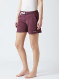 Solid Women Burgandy Night Shorts