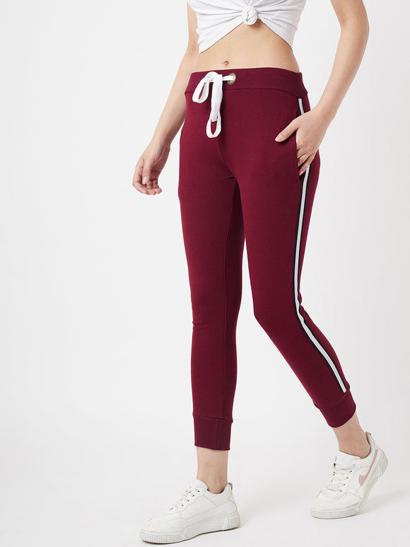The Dry State Women Cotton Maroon Colour Jogger Pant