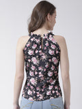 Women's  Crepe Black  Colour Floral  Top