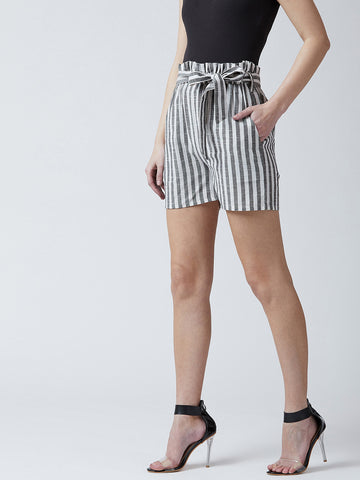 Striped Women Grey Regular Shorts