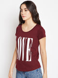Women's Cotton burgundy  Printed Half sleeves Tshirt